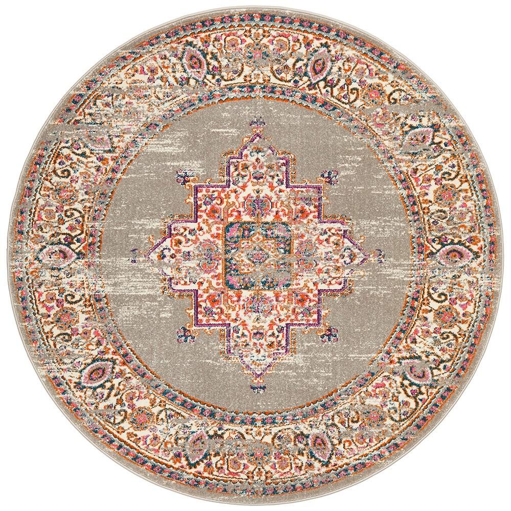 Babylon Zenovia Bohemian Round Rug, 150cm, Grey