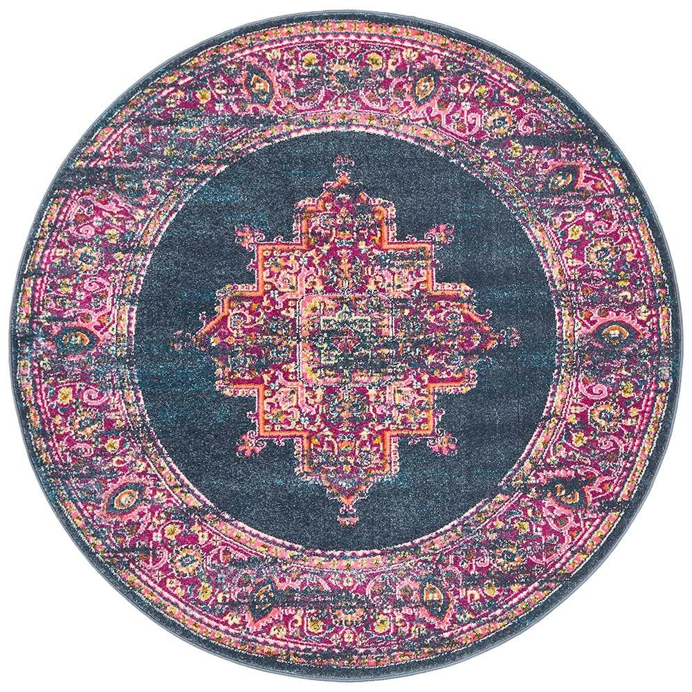 Babylon Zenovia Bohemian Round Rug, 200cm, Navy