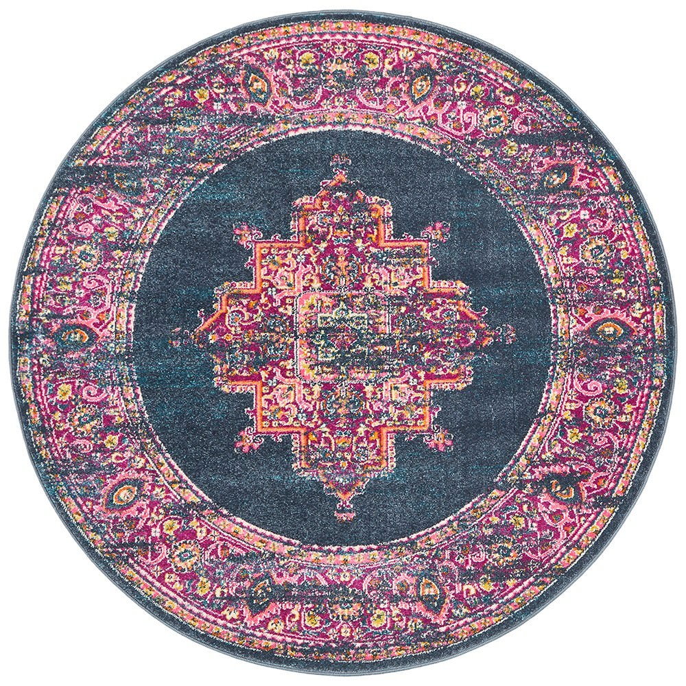 Babylon Zenovia Bohemian Round Rug, 240cm, Navy