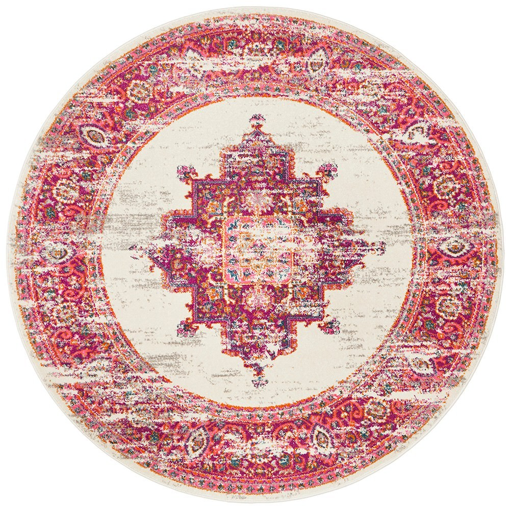 Babylon Zenovia Bohemian Round Rug, 240cm, Pink