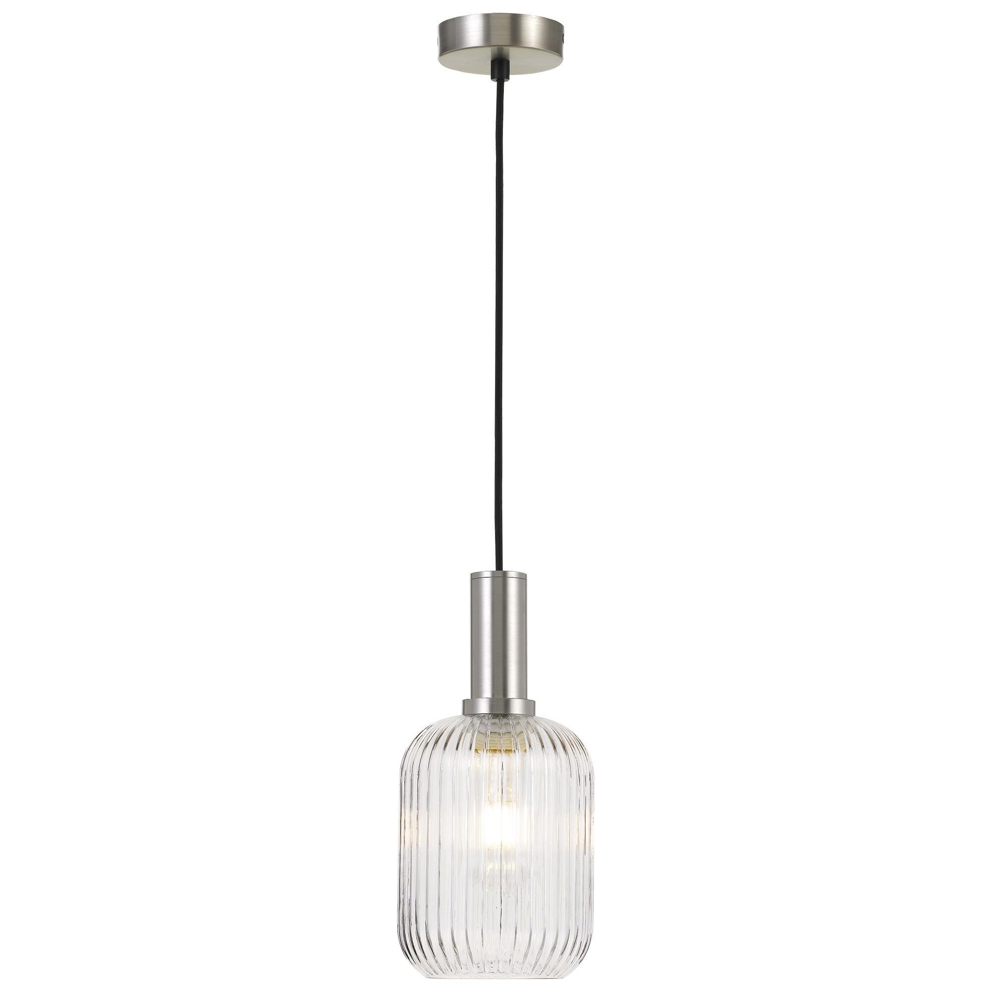 Bonura Ribbed Glass Pendant Light, Small, Clear