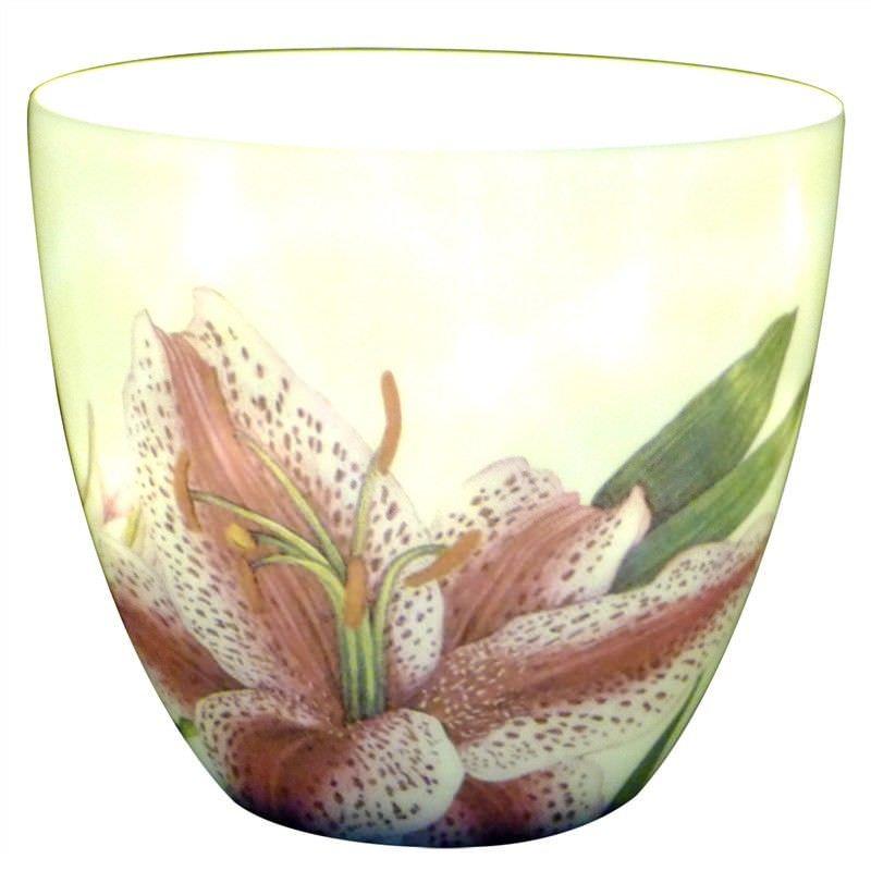 Rimona Glazed Porcelain Tealight Holder, Star Lily