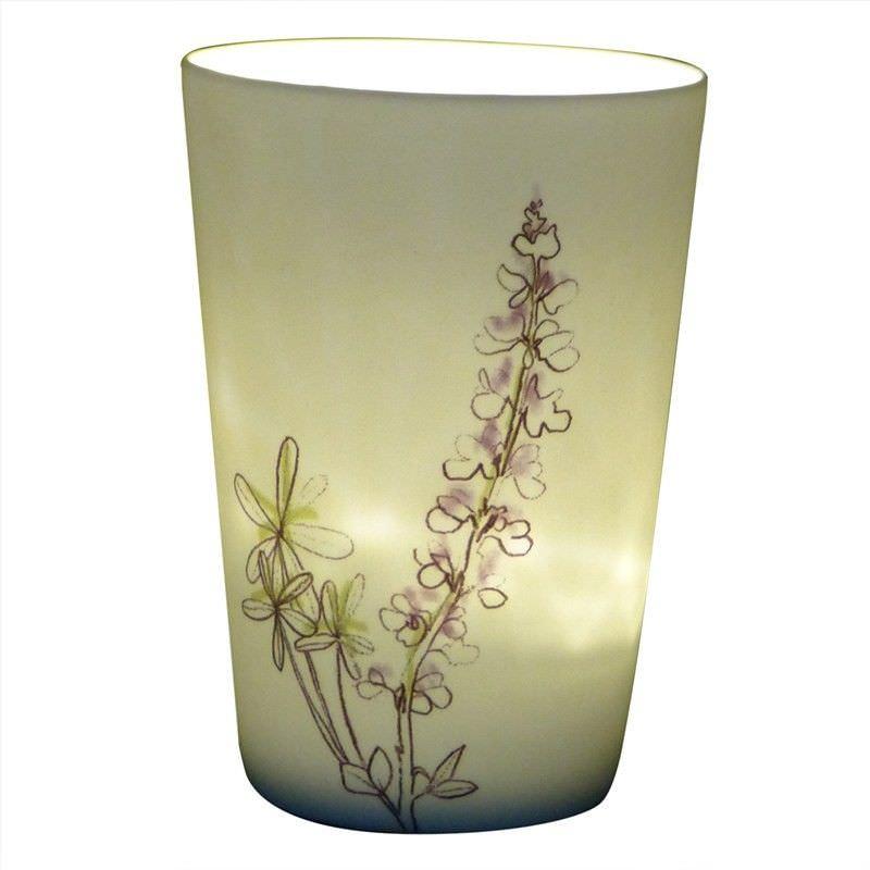 Kiva Porcelain Tealight/Votive Holder, Painted Delphinium