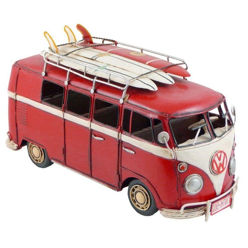 Boutica Handmade Tin Large VW Kombi Van Model - Red