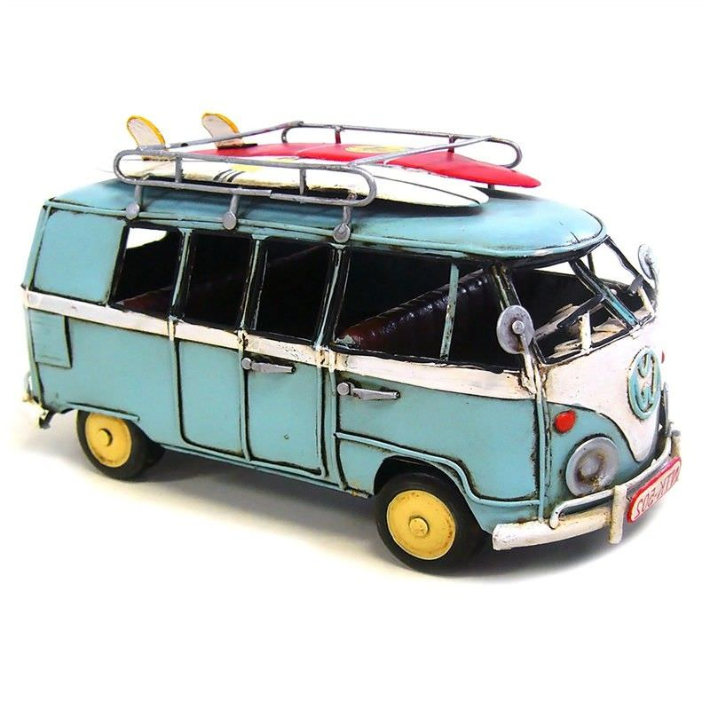 Boutica Handmade Tin Medium VW Kombi Van Model - Blue