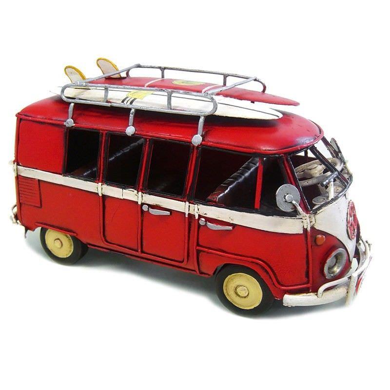 Boutica Handmade Tin Medium VW Kombi Van Model - Red