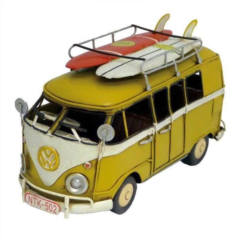 Boutica Handmade Tin Vehicle Model - Yellow Kombi with Surfboards