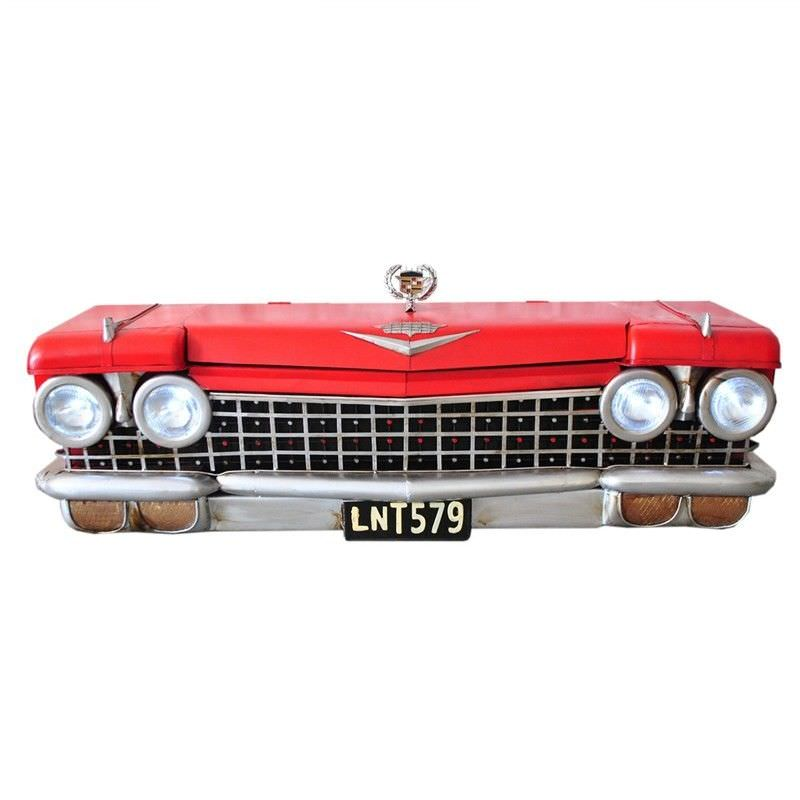 Boutica Handmade Tin Vintage Red Cadillac 140cm Wall Storage Box