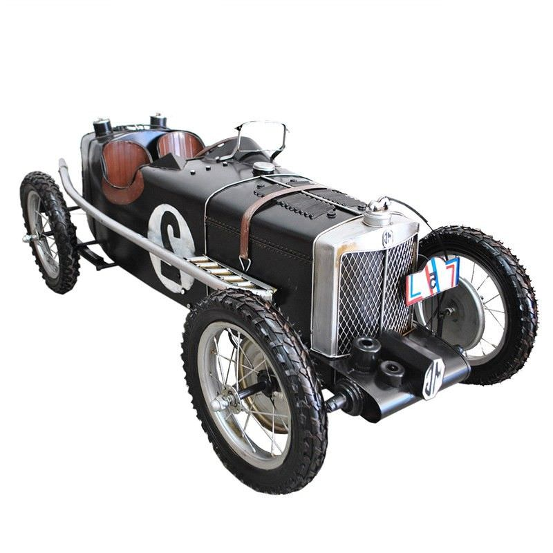 Boutica Handmade Tin Vehicle Model - Black Vintage MG Racer