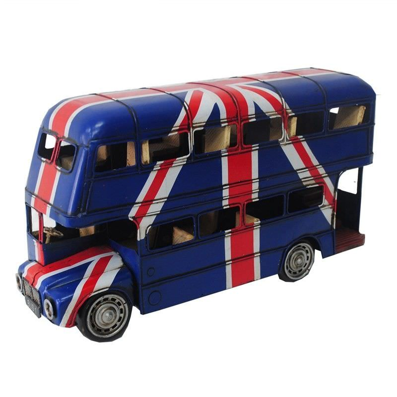 Boutica Handmade Tin Vehicle Model - 1905 London Double Decker Bus