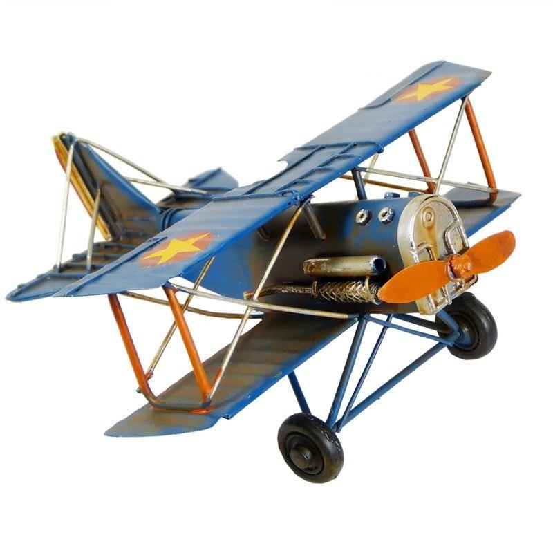 Boutica Handmade Tin Aircraft Model - Small Soarer Biplane