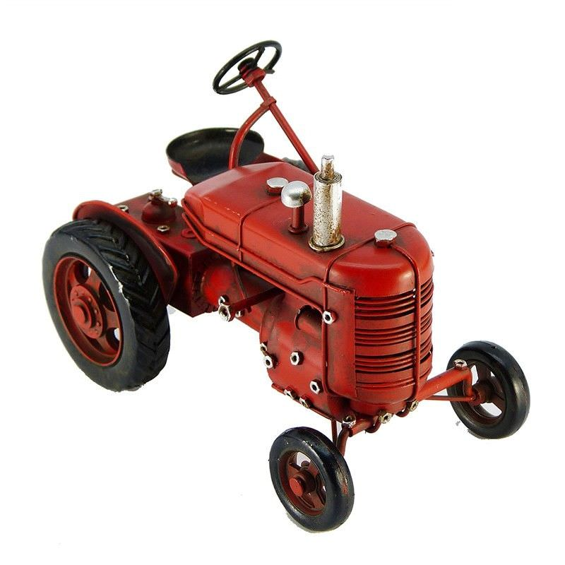 Boutica Handmade Tin Vehicle Model - Red Belford Tractor