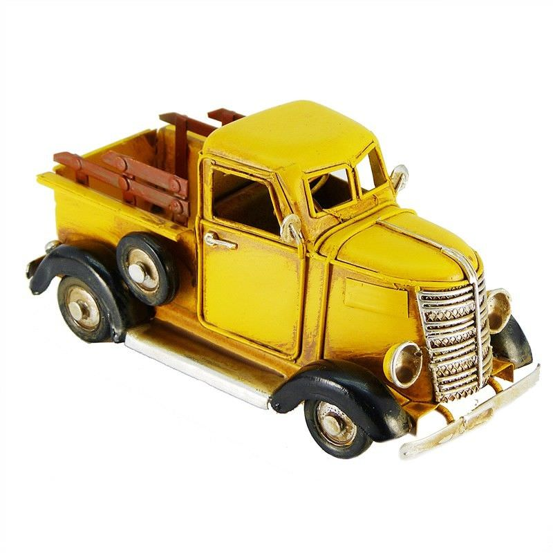 Boutica Handmade Tin Vehicle Model - Yellow Tron Truck