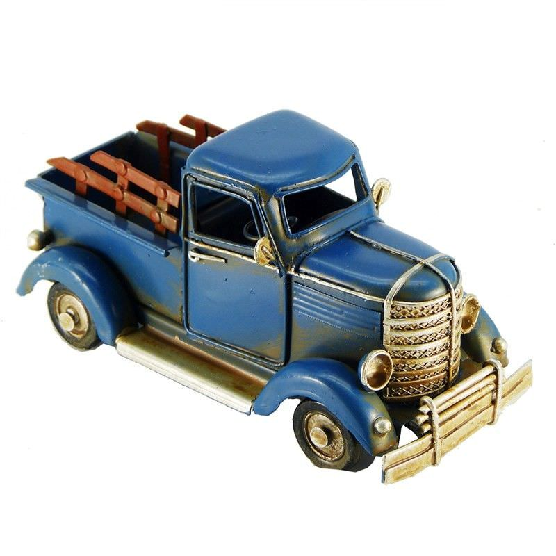 Boutica Handmade Tin Vehicle Model - Blue Tron Truck