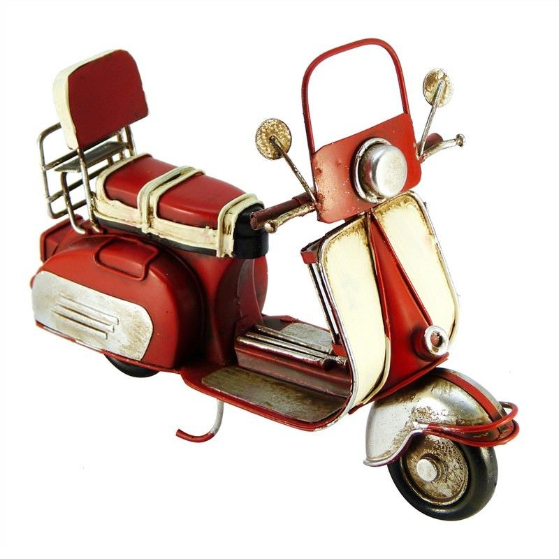 Boutica Handmade Tin Motorcycle Model - Red Scooter
