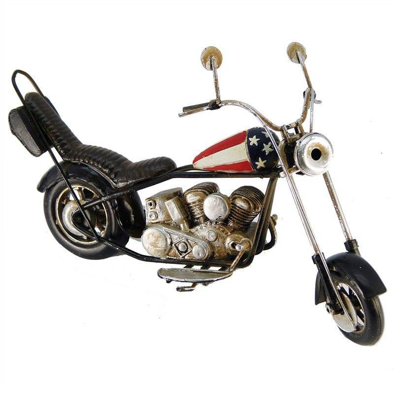Boutica Handmade Tin Motorcycle Model - US Flag Harley Davidson