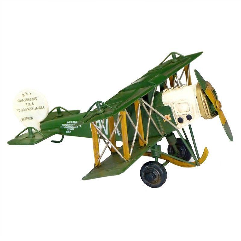 Boutica Handmade Tin Aircraft Model - Small Queensland Avro Biplane