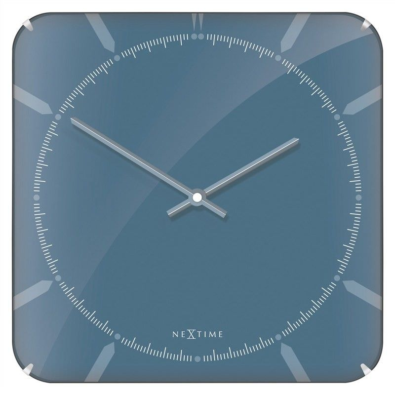 NeXtime Michael Square Dome Wall Clock - Blue