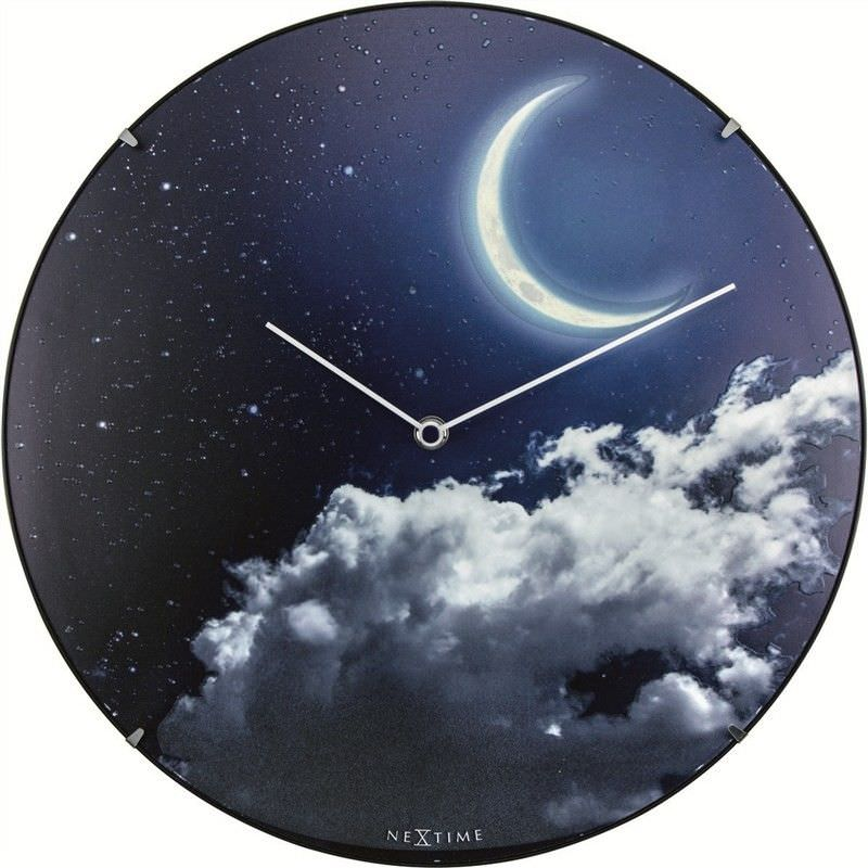 NeXtime New Moon Luminous Round Dome Wall Clock