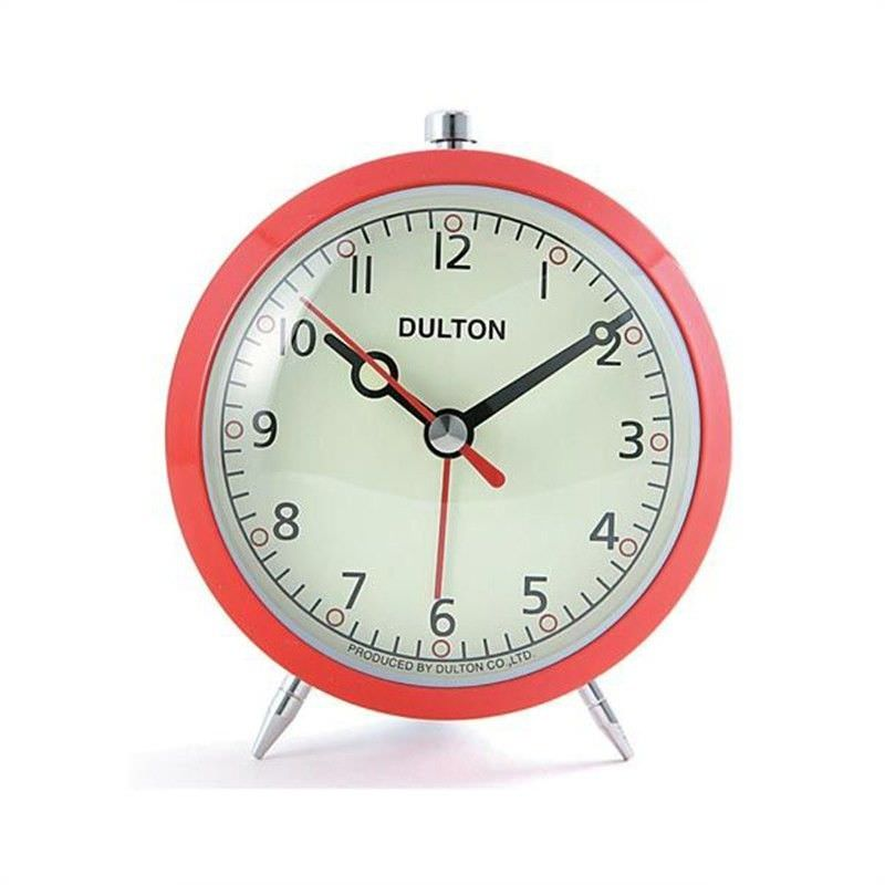 Dulton Metal Quartz Alarm Clock - Red