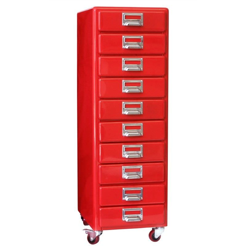 Dulton Soho Metal 10 Drawer Slim Chest - Red