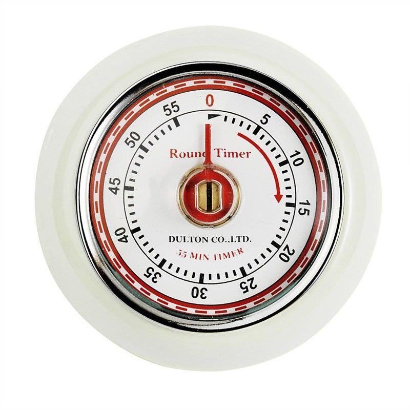 Dulton Round Magnet Kitchen Timer - Ivory