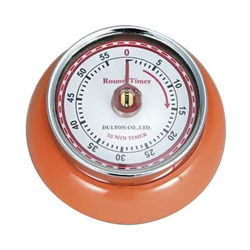 Dulton Round Magnet Kitchen Timer - Orange
