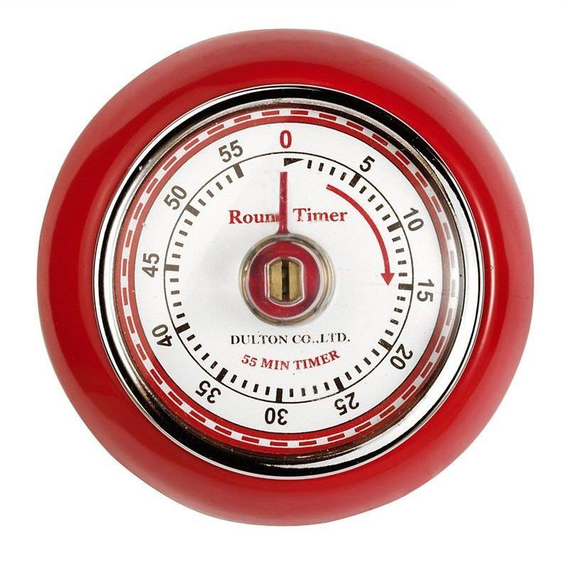 Dulton Round Magnet Kitchen Timer - Red