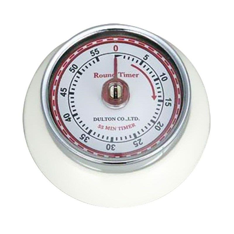 Dulton Round Magnet Kitchen Timer - White