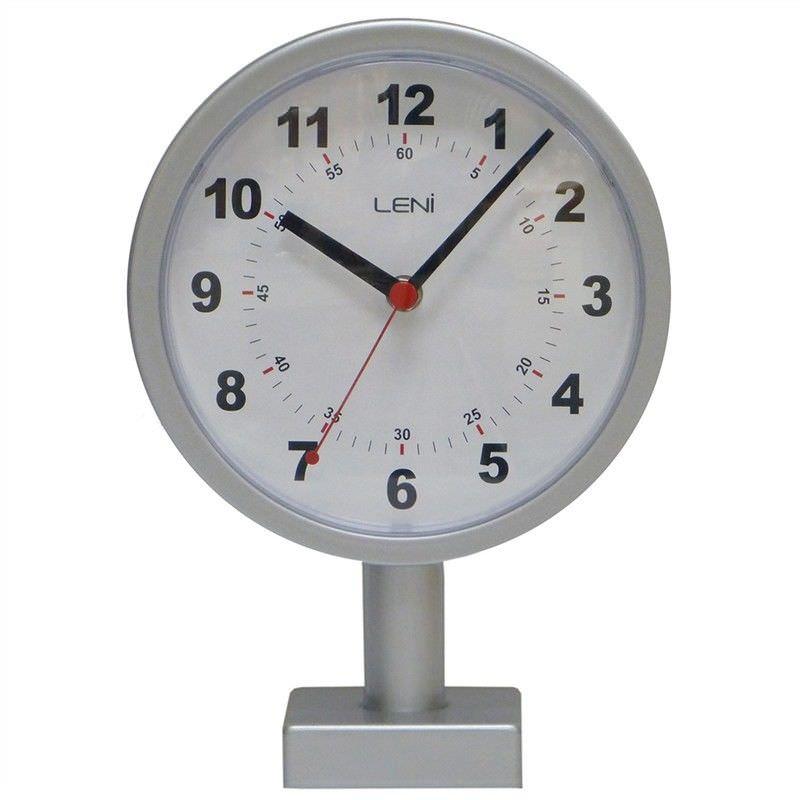 Leni Station Metal Clock, Silver