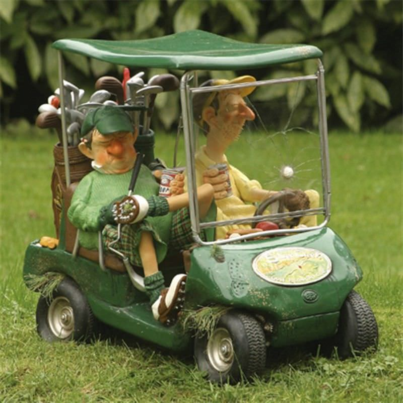 Guillermo Forchino Comic Art Figurine - The Green Next Hole Golf Cart Small