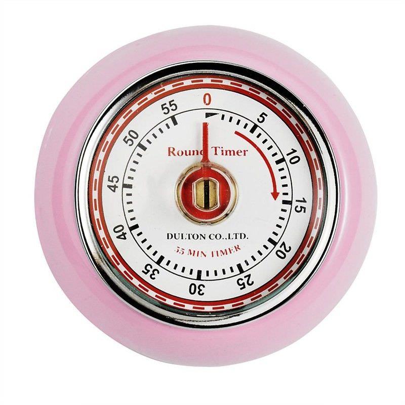 Dulton Round Magnet Kitchen Timer - Pink