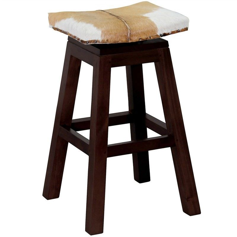 Hereford Solid Mahogany Timber Swivel Bar Stool with Goat Hide Seat, Chocolate
