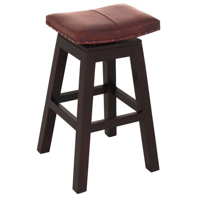 Hereford Solid Mahogany Timber Swivel Bar Stool with Leather Seat, Chocolate