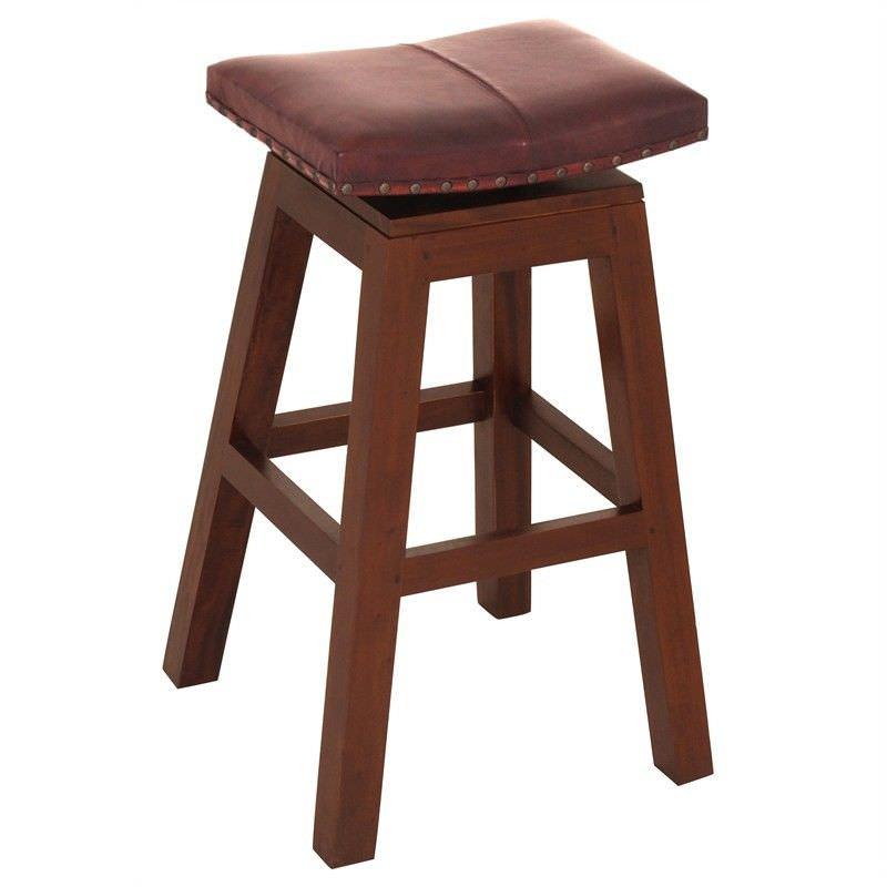 Hereford Solid Mahogany Timber Swivel Bar Stool with Leather Seat, Mahogany