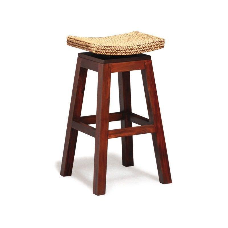 Ornament Commercial Grade Solid Mahogany Bar Stool with Water Hyacinth Seat, Mahogany