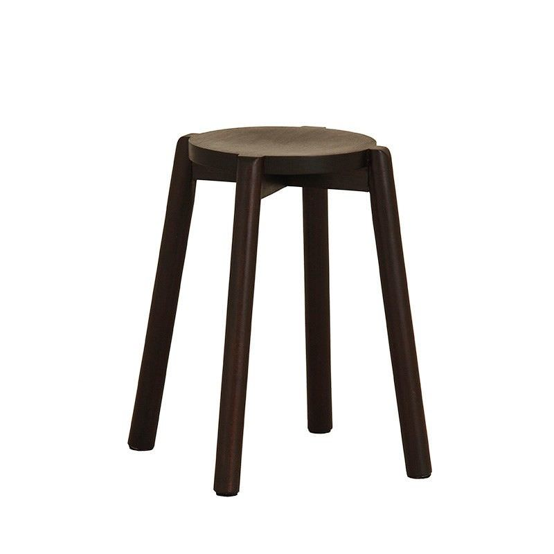 Barrick Solid Mahogany Timber Round Stool, Chocolate