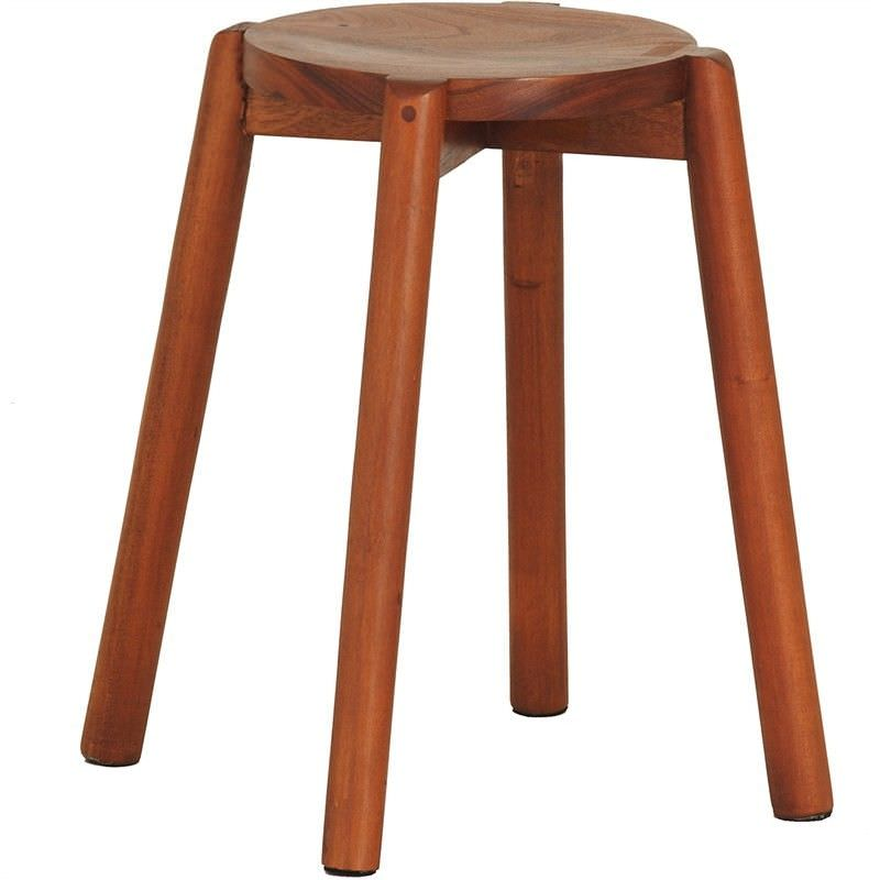 Barrick Mahogany Timber Round Dining Stool, Set of 2, Light Pecan