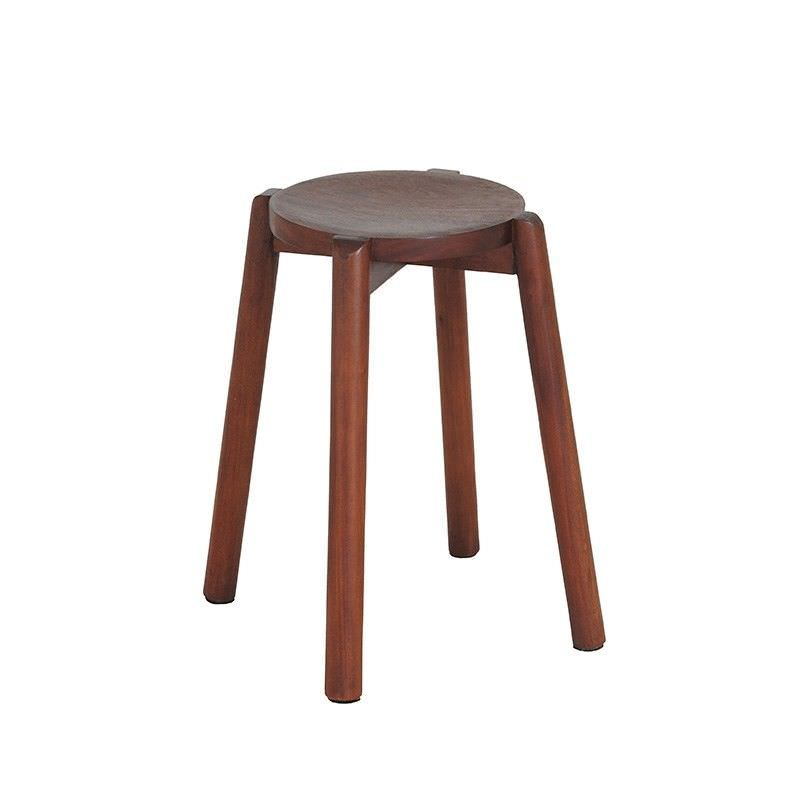 Barrick Solid Mahogany Timber Round Stool, Mahogany