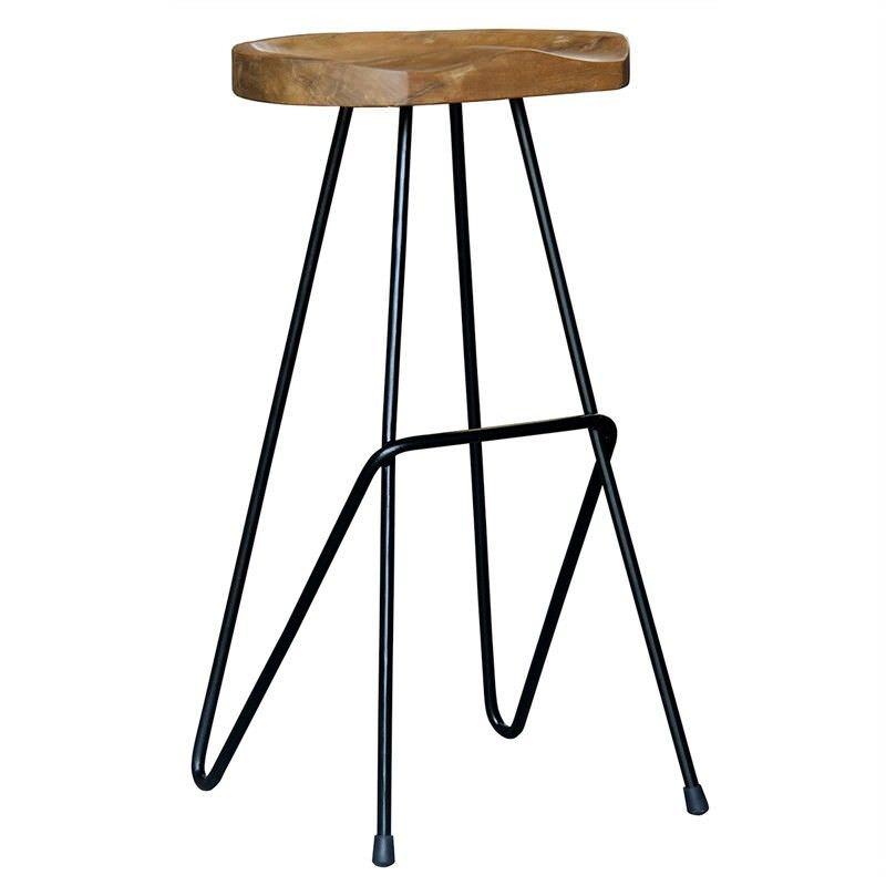 Alicio Teak Timber and Steel Saddle Counter Stool, Black