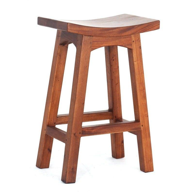 Showa Mahogany Timber Counter Stool, Light Pecan