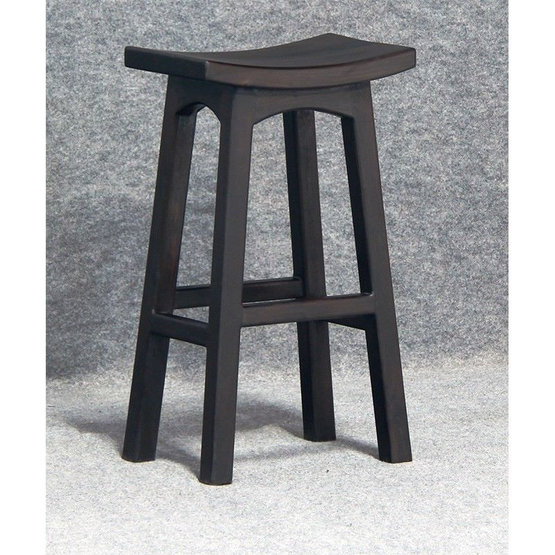 Showa Solid Mahogany Timber Bar Stool, Chocolate