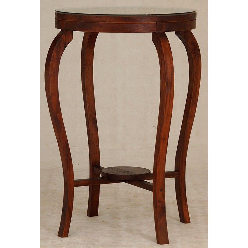 Ornament Solid Mahogany Timber Round Bar Table, 70cm, Mahogany