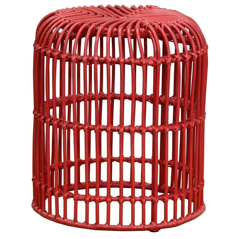 Rosaline Hand Woven Rattan Cage Stool - Red