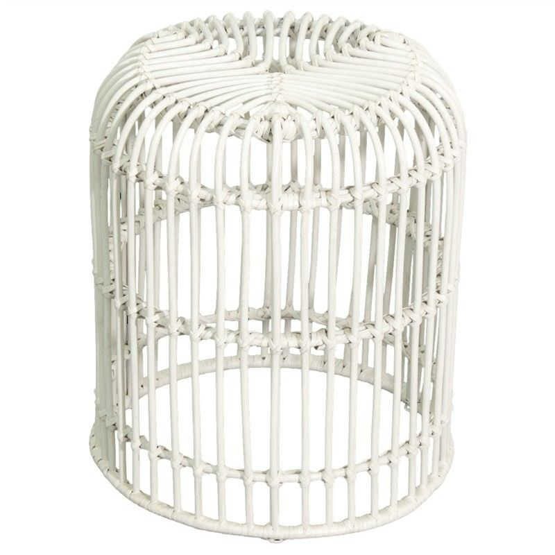 Rosaline Hand Woven Rattan Cage Stool, White