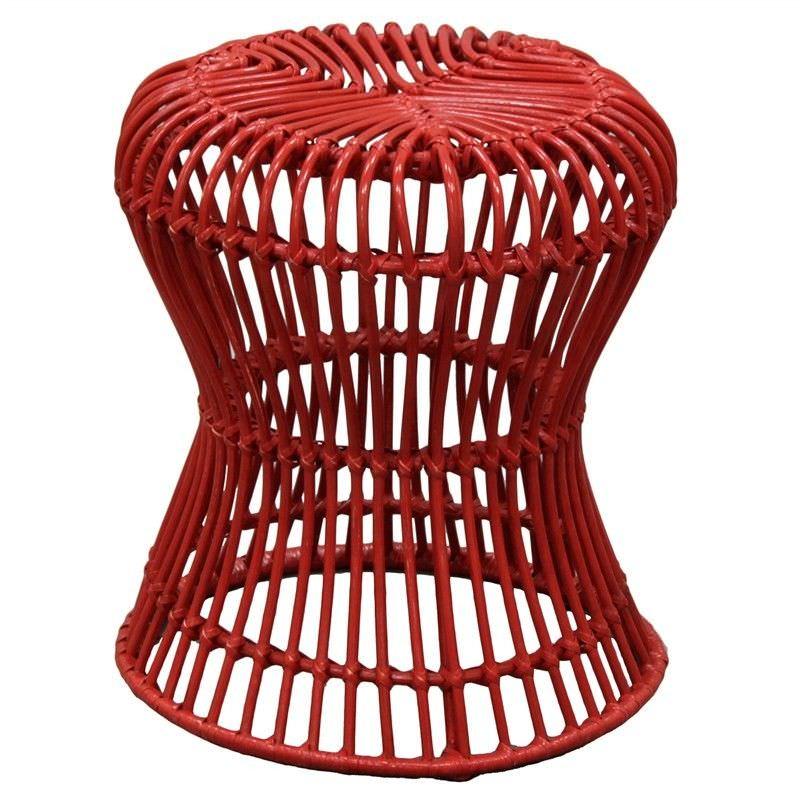 Rosaline Hand Woven Rattan Hourglass Stool, Red