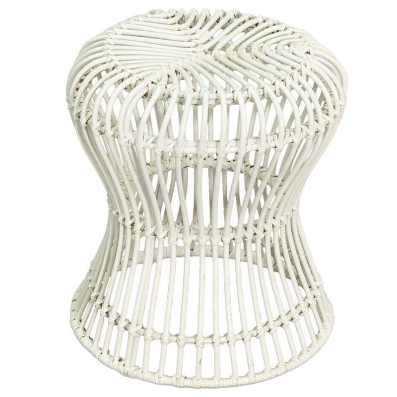 Rosaline Hand Woven Rattan Hourglass Stool - White