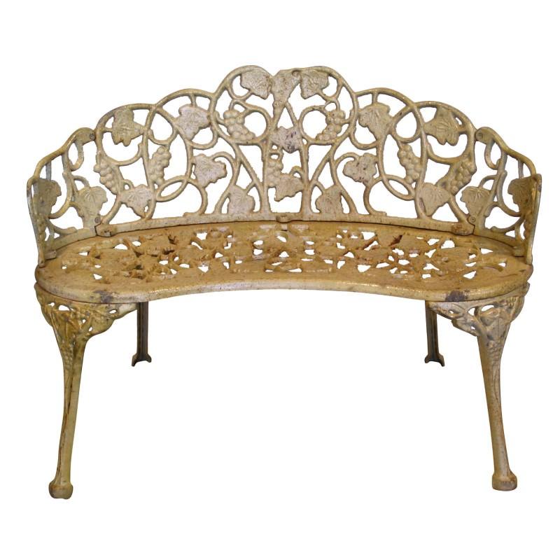 Duchess Cast Iron Garden Bench, Antique White