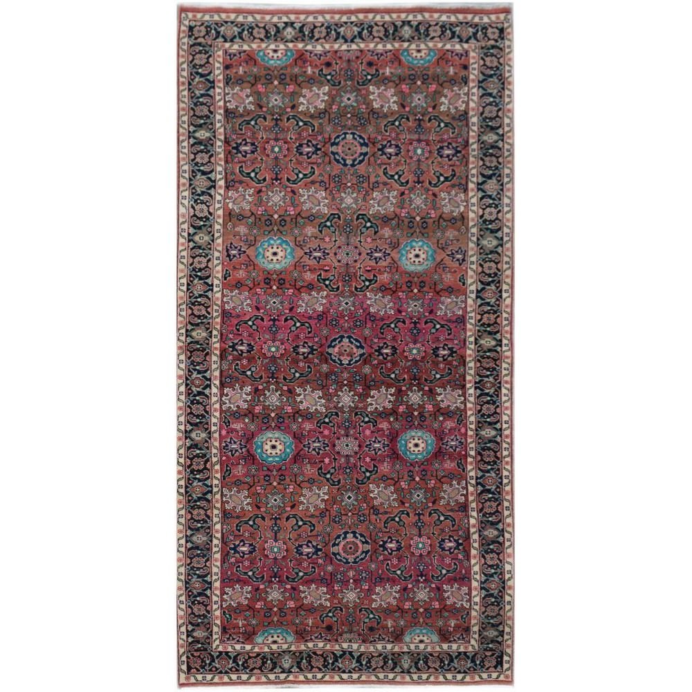 One of A Kind Hiba Hand Knotted Wool Persian Rug, 275x119cm