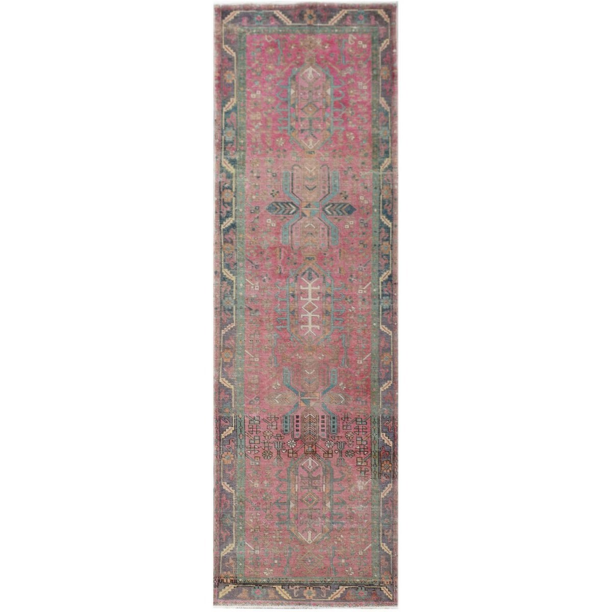 One of A Kind Zidan Hand Knotted Wool Persian Runner Rug, 361x99cm